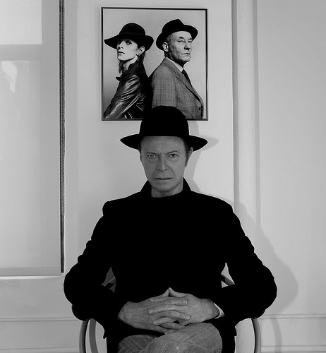 David Bowie below snap of Bowie and Wm S Burroughs, 1974