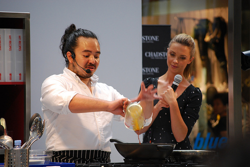 Adam Liaw adding soy sauce - Chadstone Celebrity Kitchen