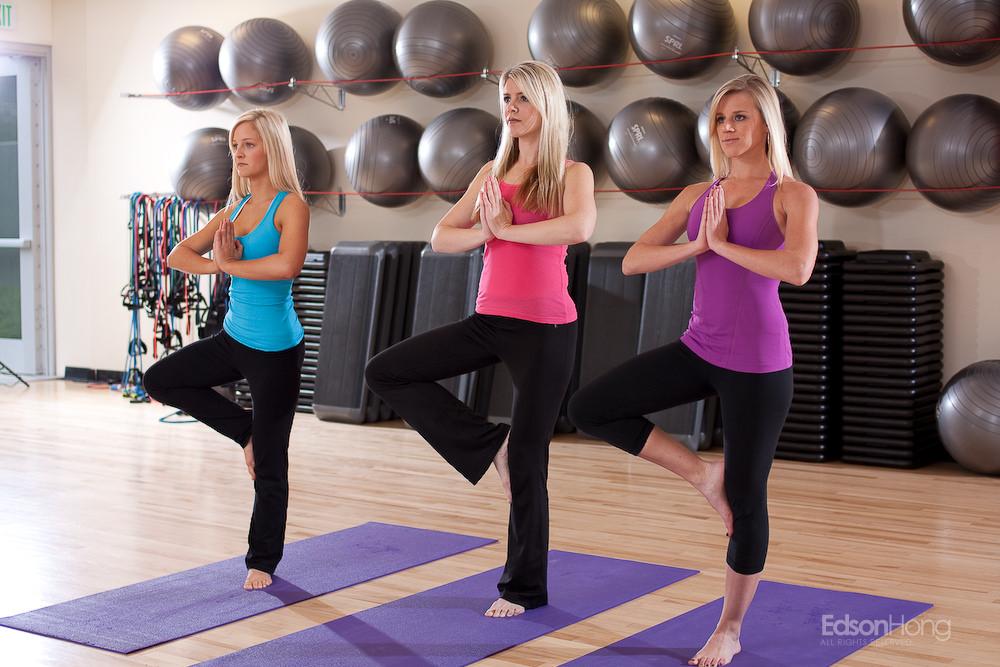 Blonde Girls Doing Yoga Poses -7936