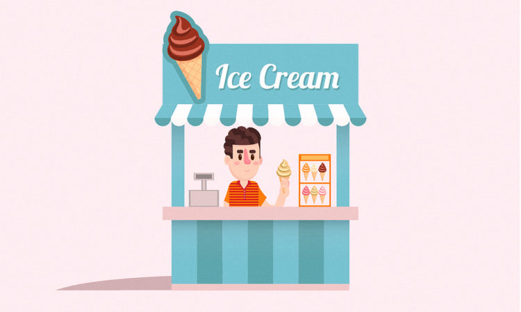 business owner scooping ice cream